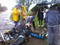 Foto BM: Motociclista foi medicado no HBB e liberado.