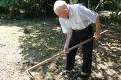 Além de realizar caminhadas diárias, o aposentado ocupa o tempo para capinar a horta e o arvoredo