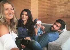 Arroio-meense Katherine com Alisson, a esposa Natalia e a pequena Helena