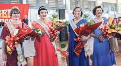 (E/D): Rainha Regional da Terceira Idade, Anysia Kronbauer; 1ª princesa, Anita Rohr; 2ª princesa, Dionice Maria Sebastiany e Miss Simpatia, Araci Haack Weber