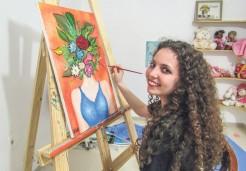 Gosto pela pintura vem desde a infância. Há cerca de um ano e meio ela vem se aperfeiçoando na técnica óleo sobre tela
